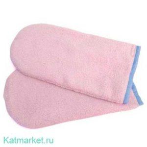№15 Махровые варежки, розовые